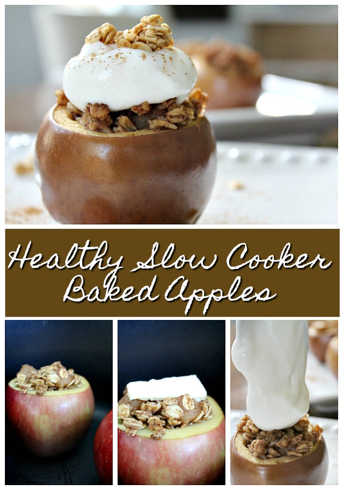 Healthy Slow Cooker Baked Stuffed Apples