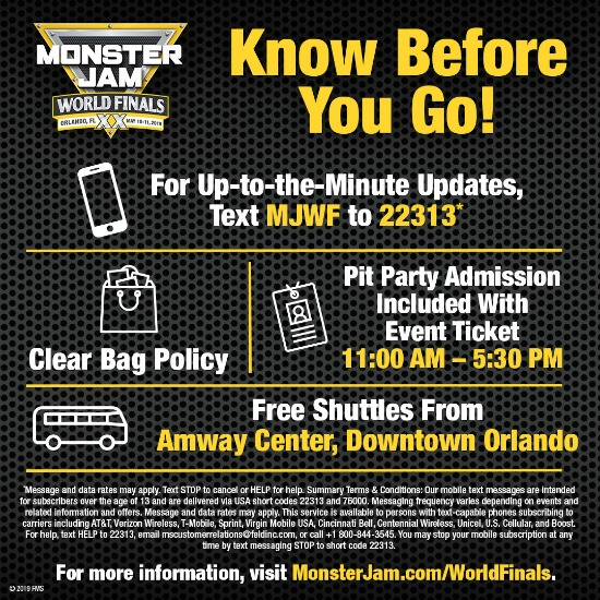 Monster Jam World Finals Orlando Information