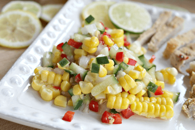 Corn Salad with cucumber and red pepper