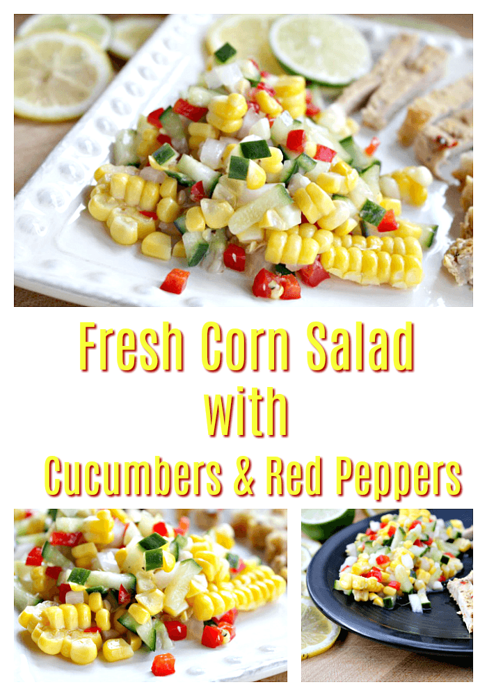 Fresh Corn Salad with Cucumbers and Red Peppers