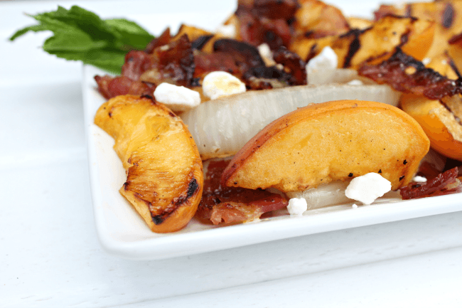 Grilled Peach and Onion Salad with bacon and goat cheese