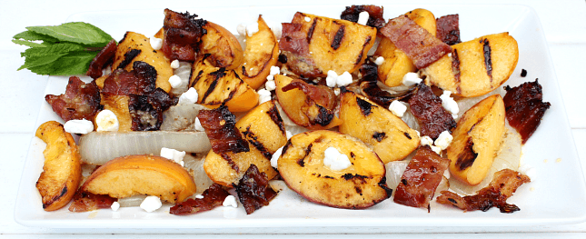 Grilled Onion and Peach Salad