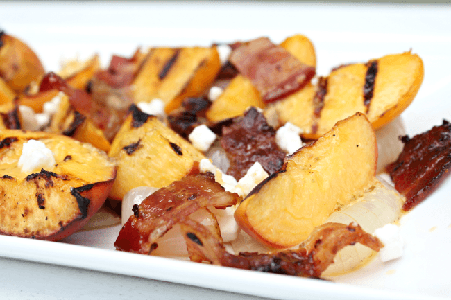 Grilled Peach Salad with onion and bacon