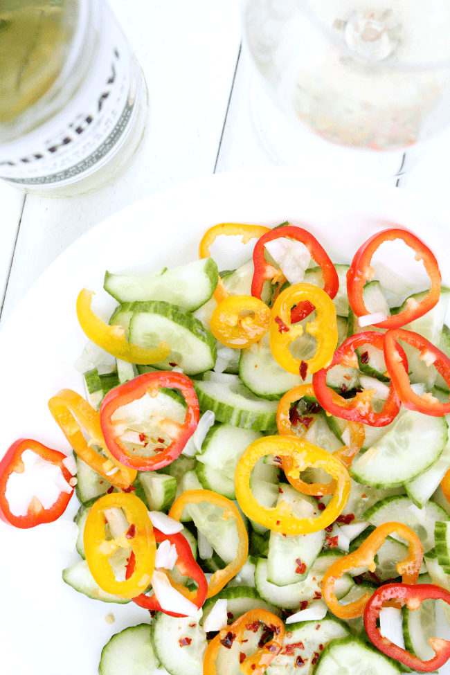Easy Cucumber Salad with homemade dressing