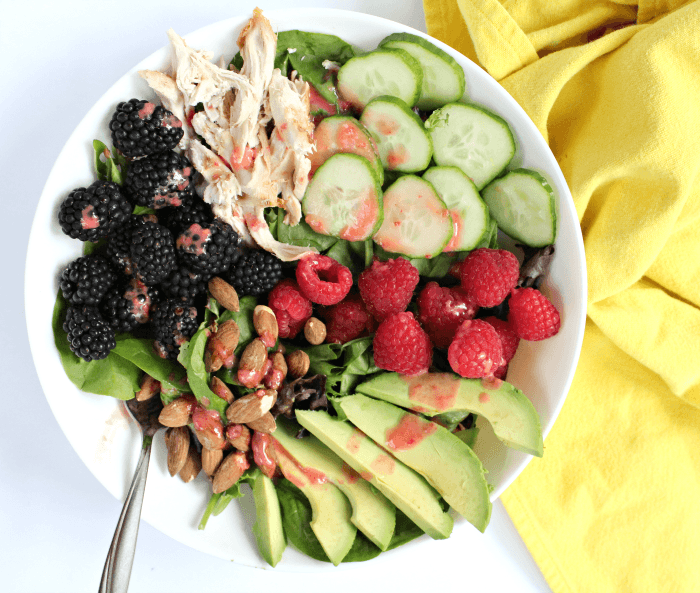 Berry Avocado Chicken Salad with Almonds