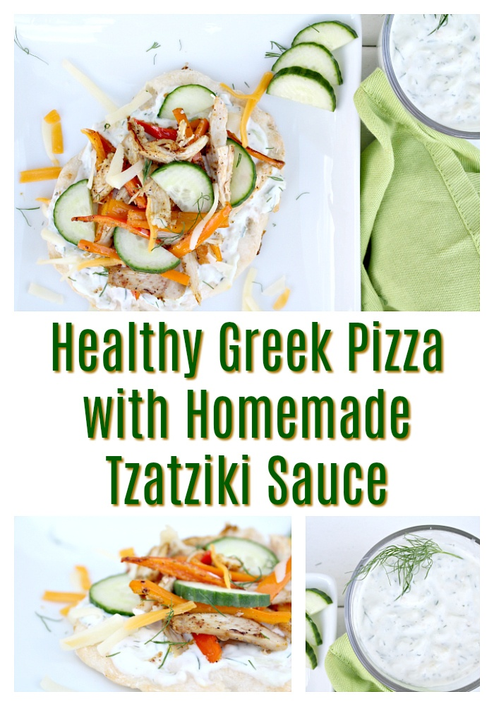 Homemade Healthy Greek Pizza with Tzatziki Sauce