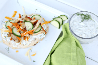 Healthy Greek Pizza with Homemade Tzatziki Sauce-image