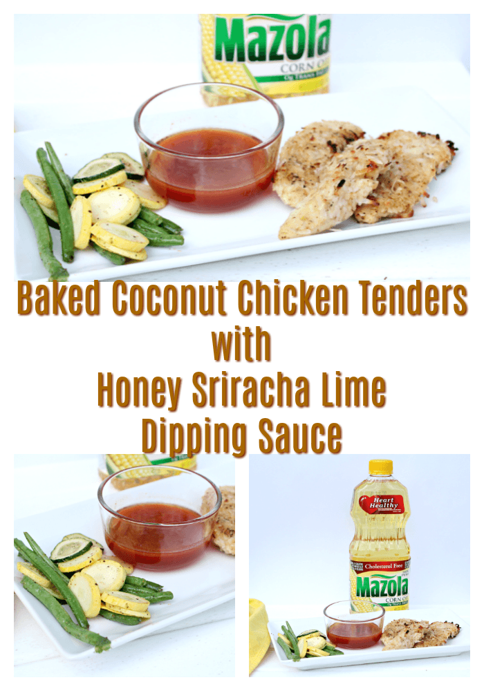 Baked Coconut Chicken Tenders with Honey Sriracha Lime Dipping Sauce