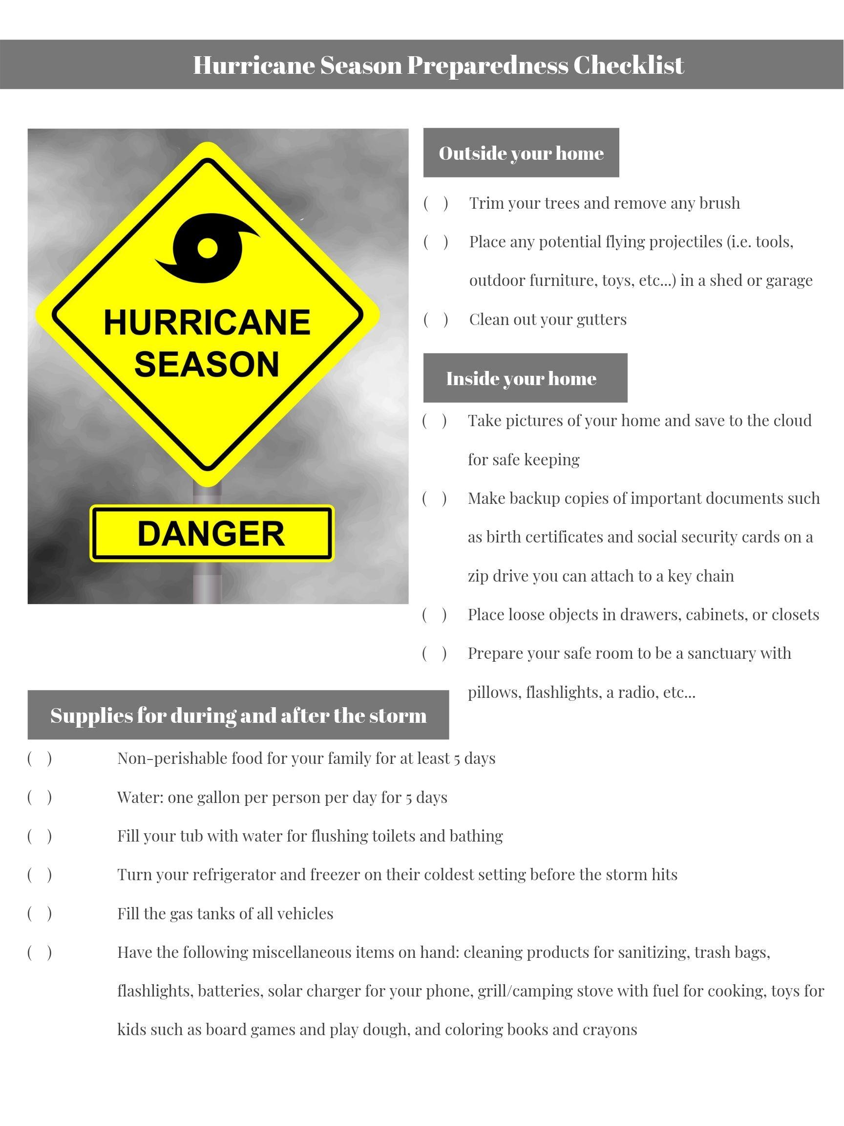 Hurricane Season Preparedness Checklist