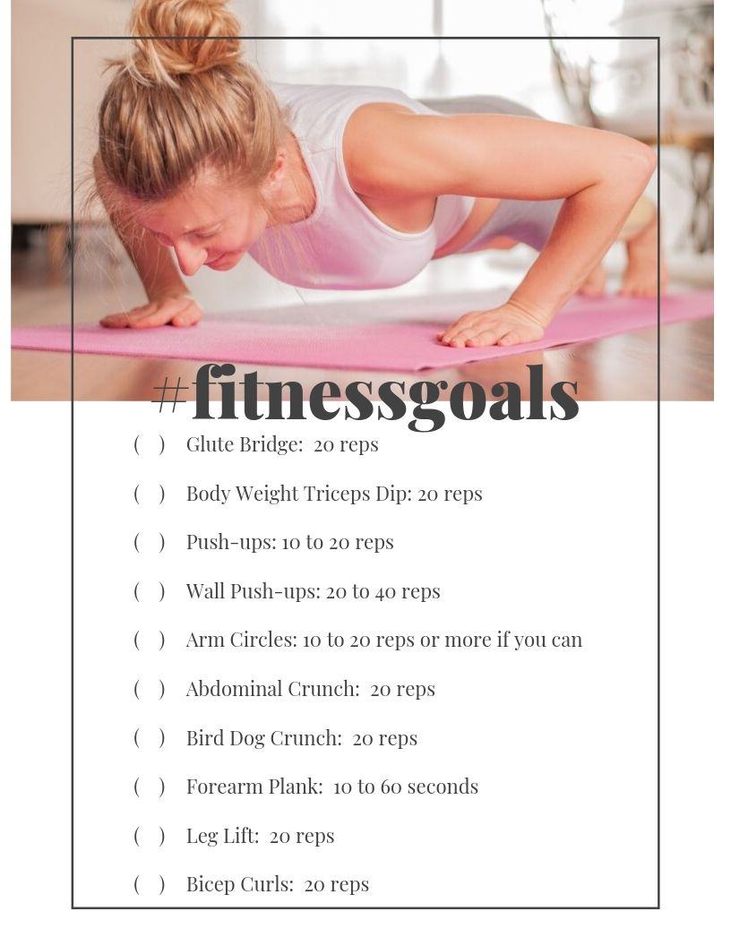 Free Fitness Printable with Simple Exercises You Can Do At Home - No Equipment Required | Sometimes we don't have time to go to the gym or hit a fitness class but we still want to get some physical activity in. These are 10 Simple Exercises You Can Do At Home or anywhere! Read more healthy living tips, healthy recipes and fitness tips on foodwinesunshine.com | Food Wine Sunshine #healthy #healthyliving #healthylifestyle #wellness #lifestyleblogger #foodblogger