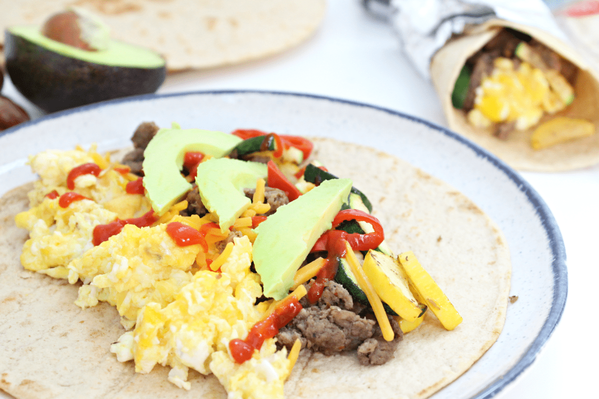 Easy Turkey Sausage Breakfast Burritos