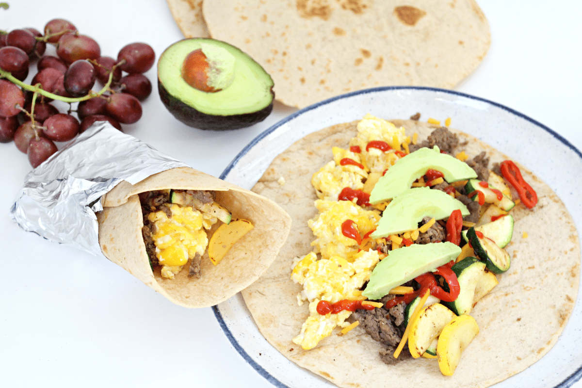 Tasty Turkey Sausage Breakfast Burritos