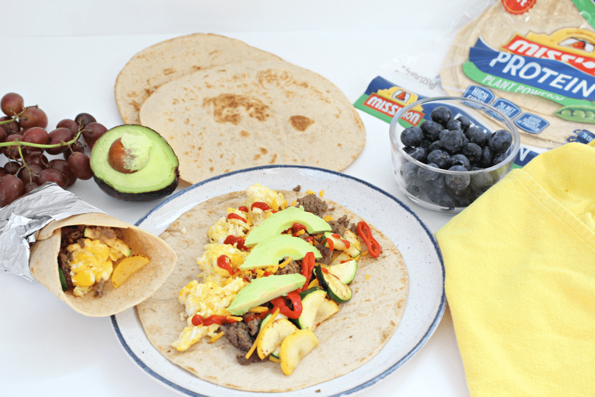 Turkey Sausage Protein Breakfast Burritos
