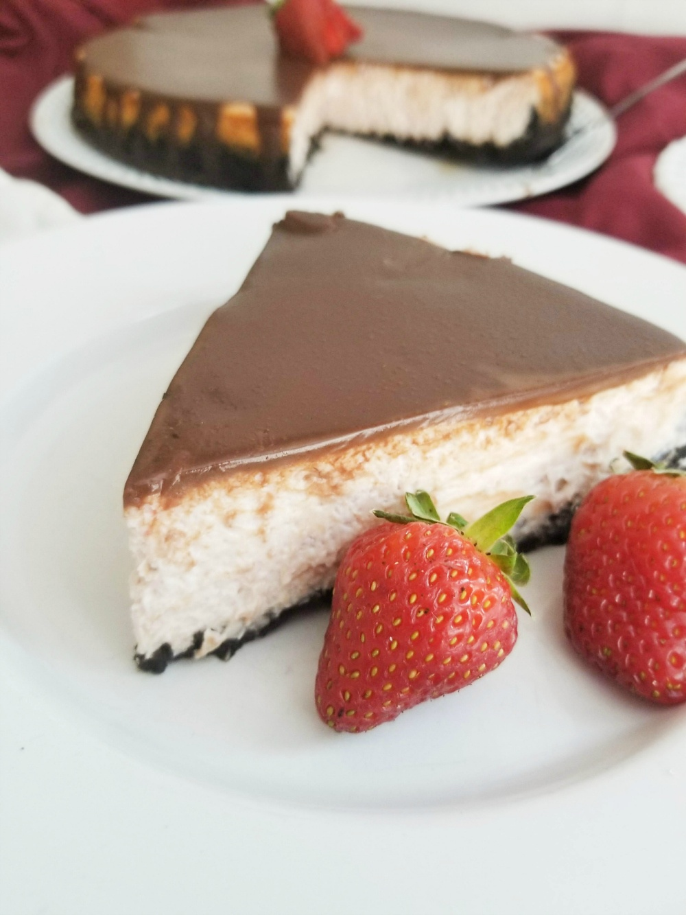 Strawberry Cheesecake with Chocolate Ganache