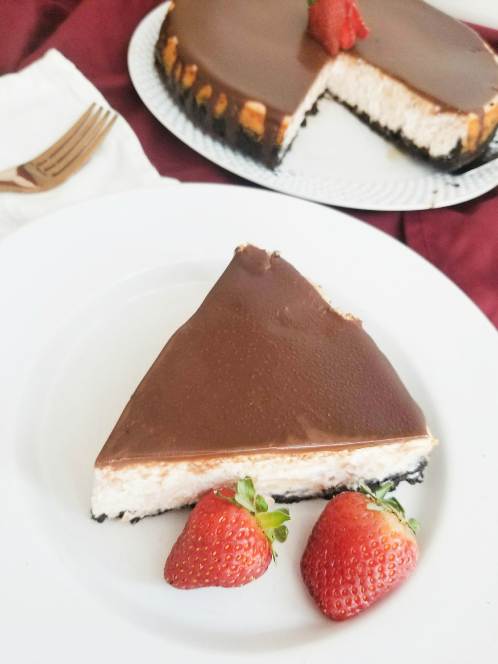 Tasty Chocolate Covered Strawberry Cheesecake