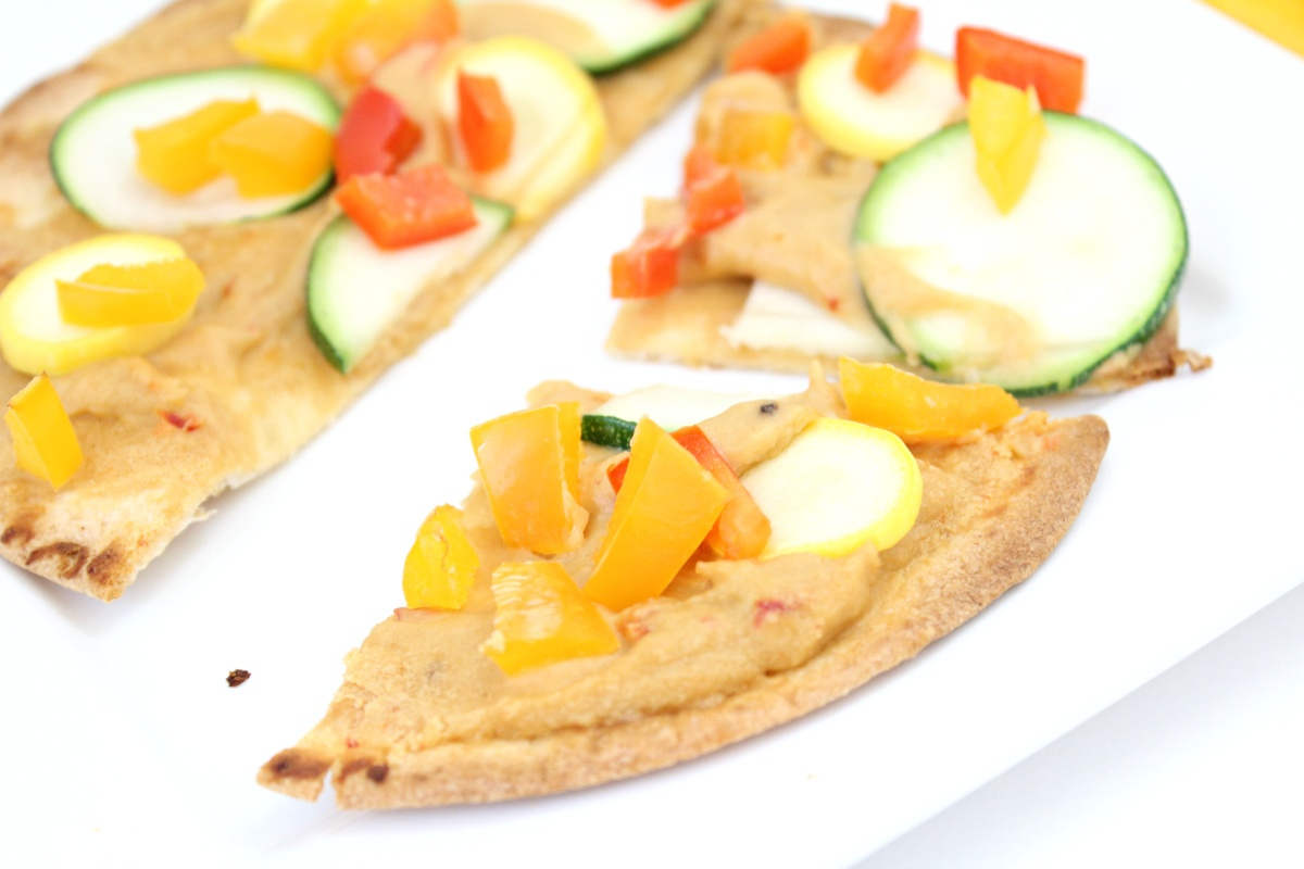 Weight Watchers Roasted Veggie and Hummus Tortilla Pizza