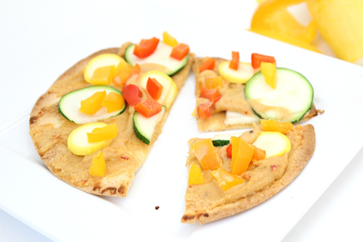 Roasted Veggie and Hummus Tortilla Pizza