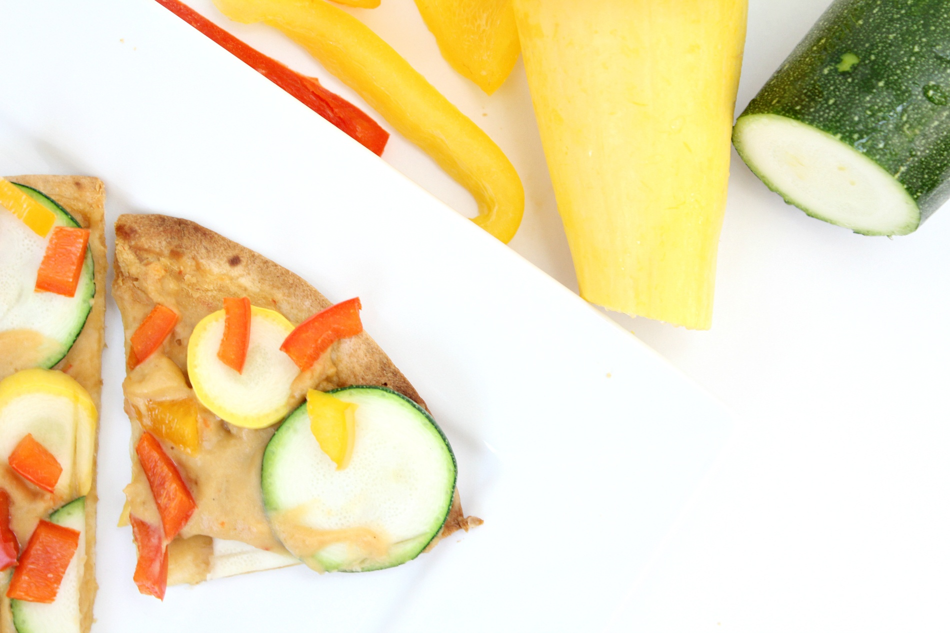 Healthy Roasted Vegetable and Hummus Tortilla Pizza