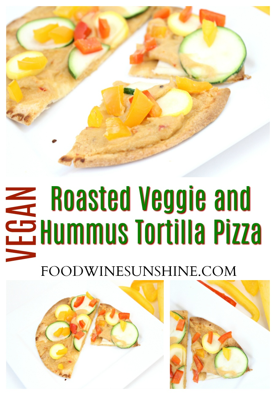 Vegan Roasted Veggie and Hummus Tortilla Pizza