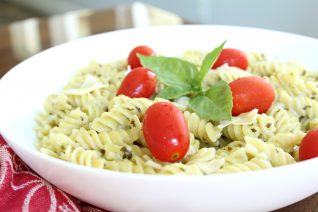 Pesto Alfredo Pasta on white plate