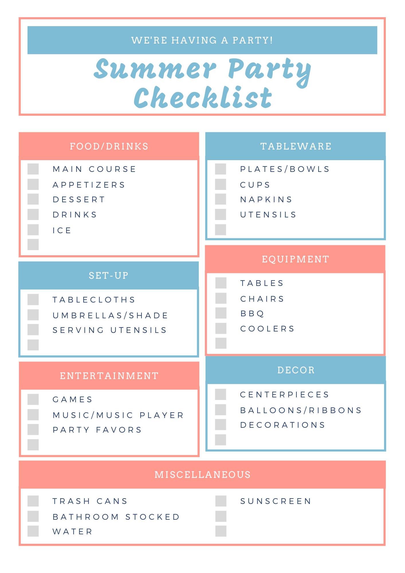 Summer Party Checklist Printable
