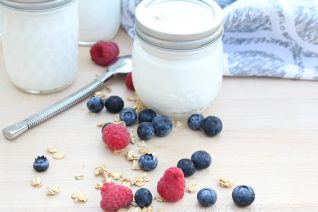 homemade vanilla yogurt closed jars
