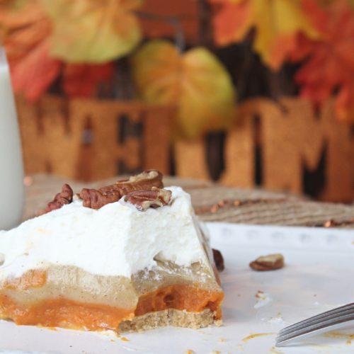 No Bake Triple Layer Pumpkin Pudding Pie