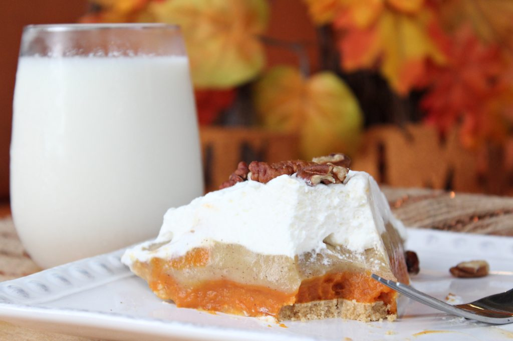 Pumpkin Pudding Pie with fork