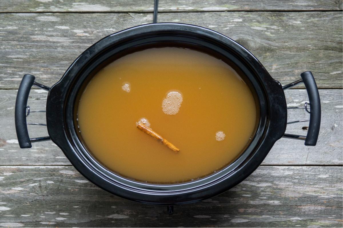 Spiked Hot Apple Cider in Crockpot