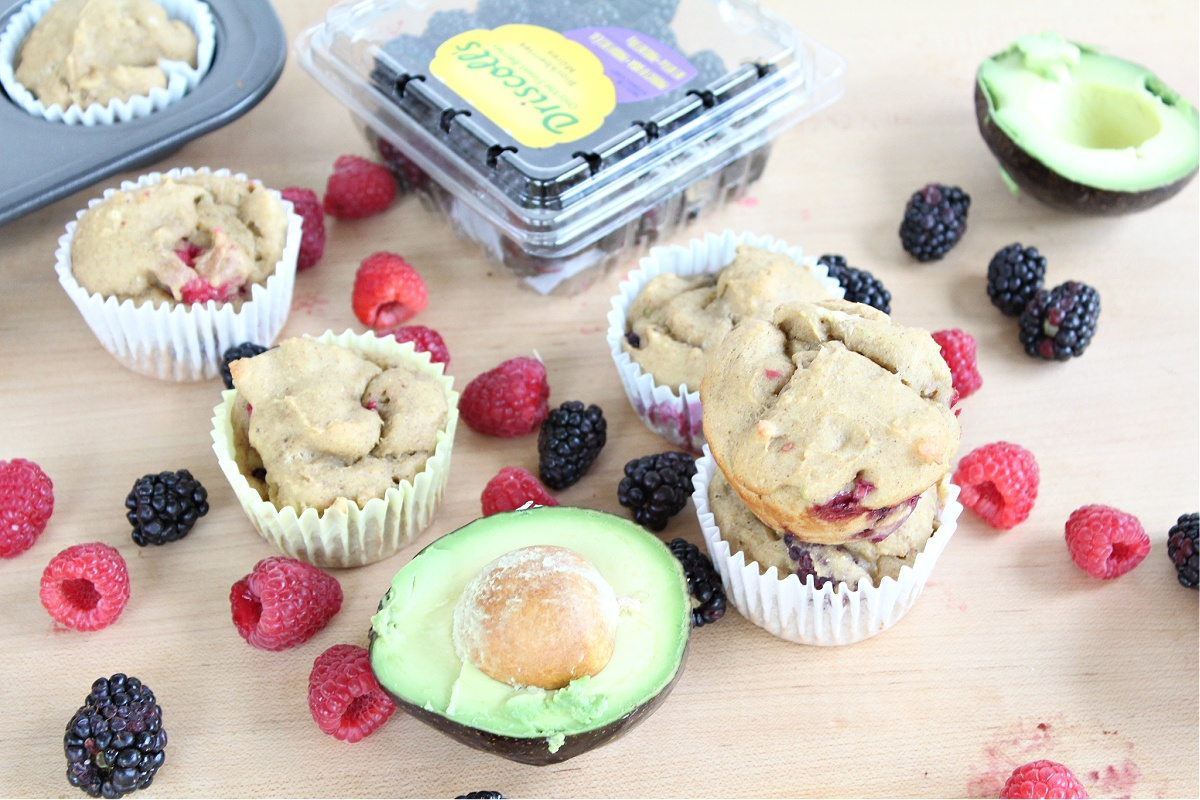 Healthy Berry Avocado Muffins