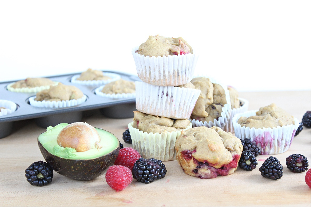 avocado mixed berry muffins