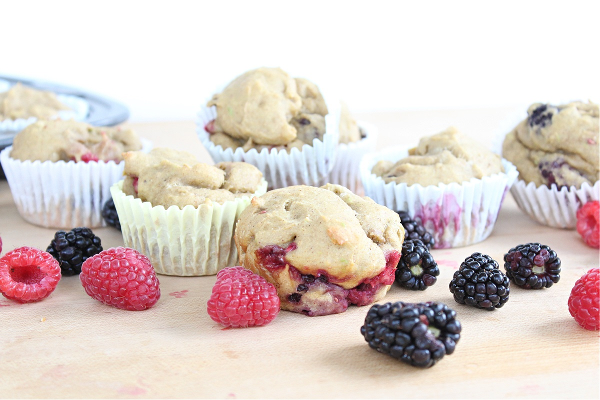 Berry Avocado Protein Muffins