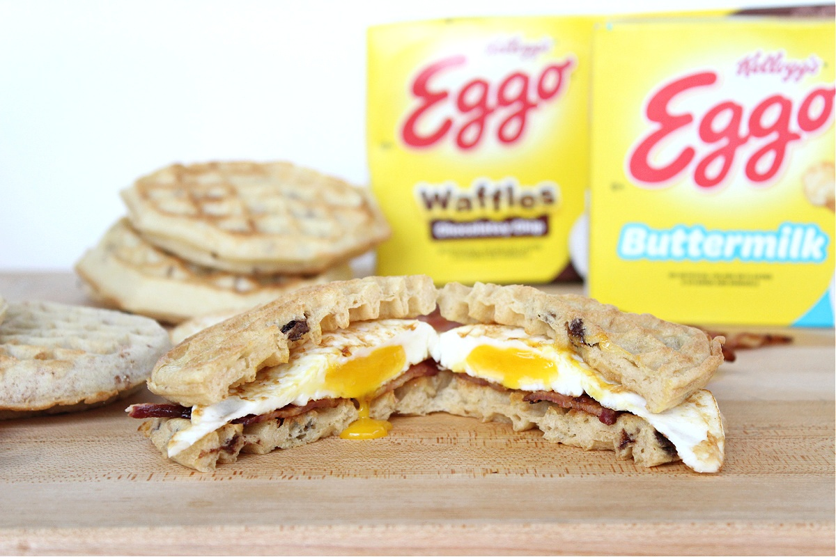 Waffle Breakfast Sandwiches made with Eggo Waffles