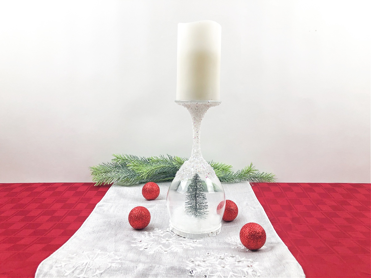 How To Make A Christmas Wine Glass Candle Holder
