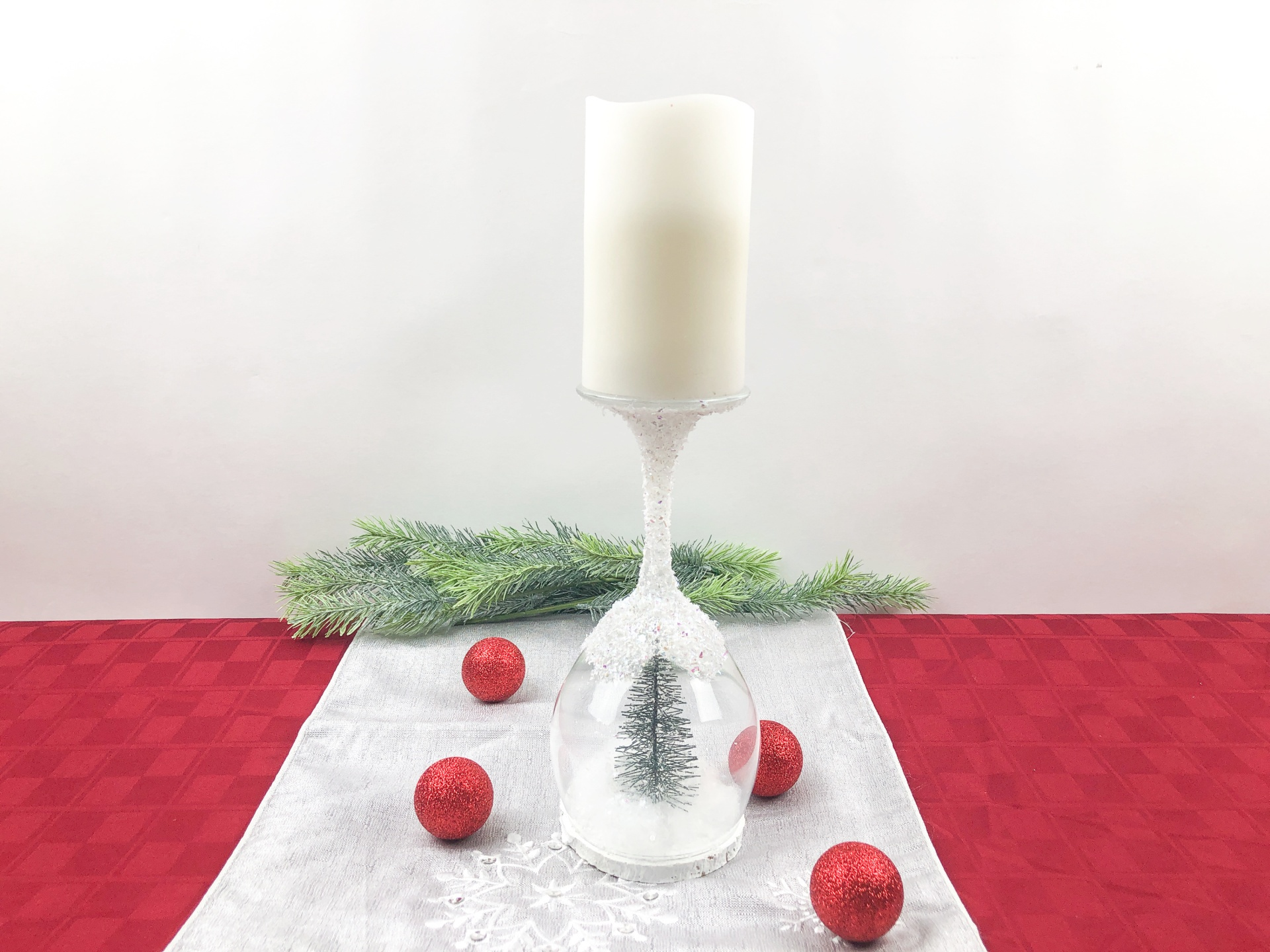 Christmas Wine Glass Candle Holder Craft