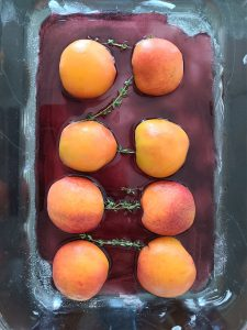 Making Oven Roasted Peaches Red Wine Dessert