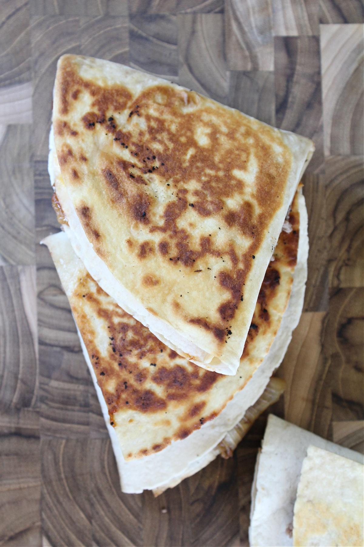 Best BBQ Cheeseburger Folded Tortilla Quesadillas