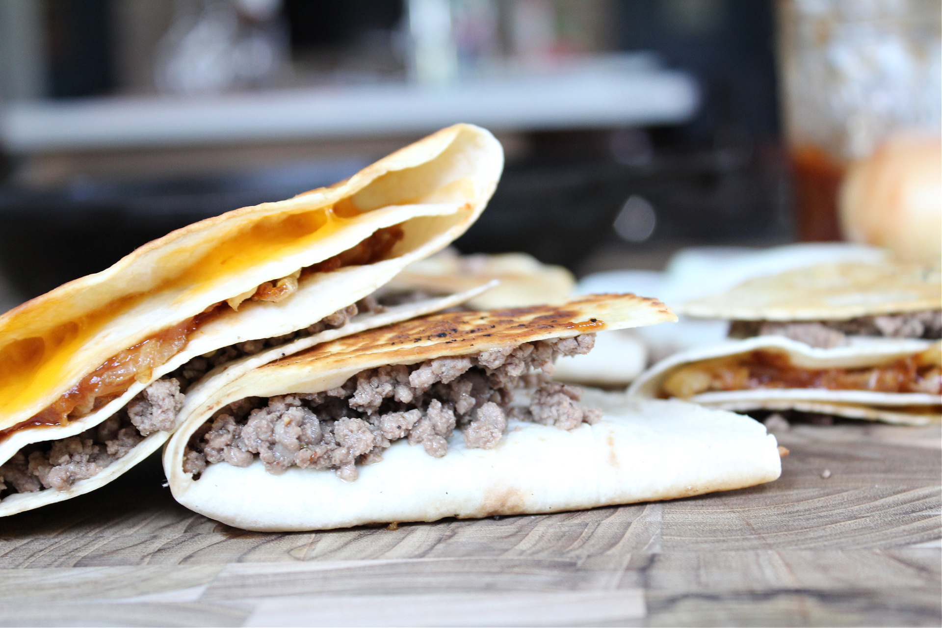 BBQ Cheeseburger Stacked Tortilla Quesadillas