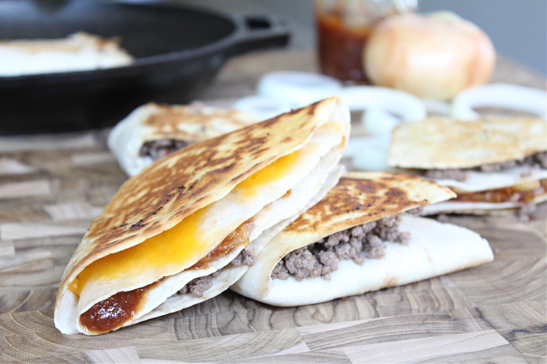 Easy BBQ Cheeseburger Stacked Quesadillas