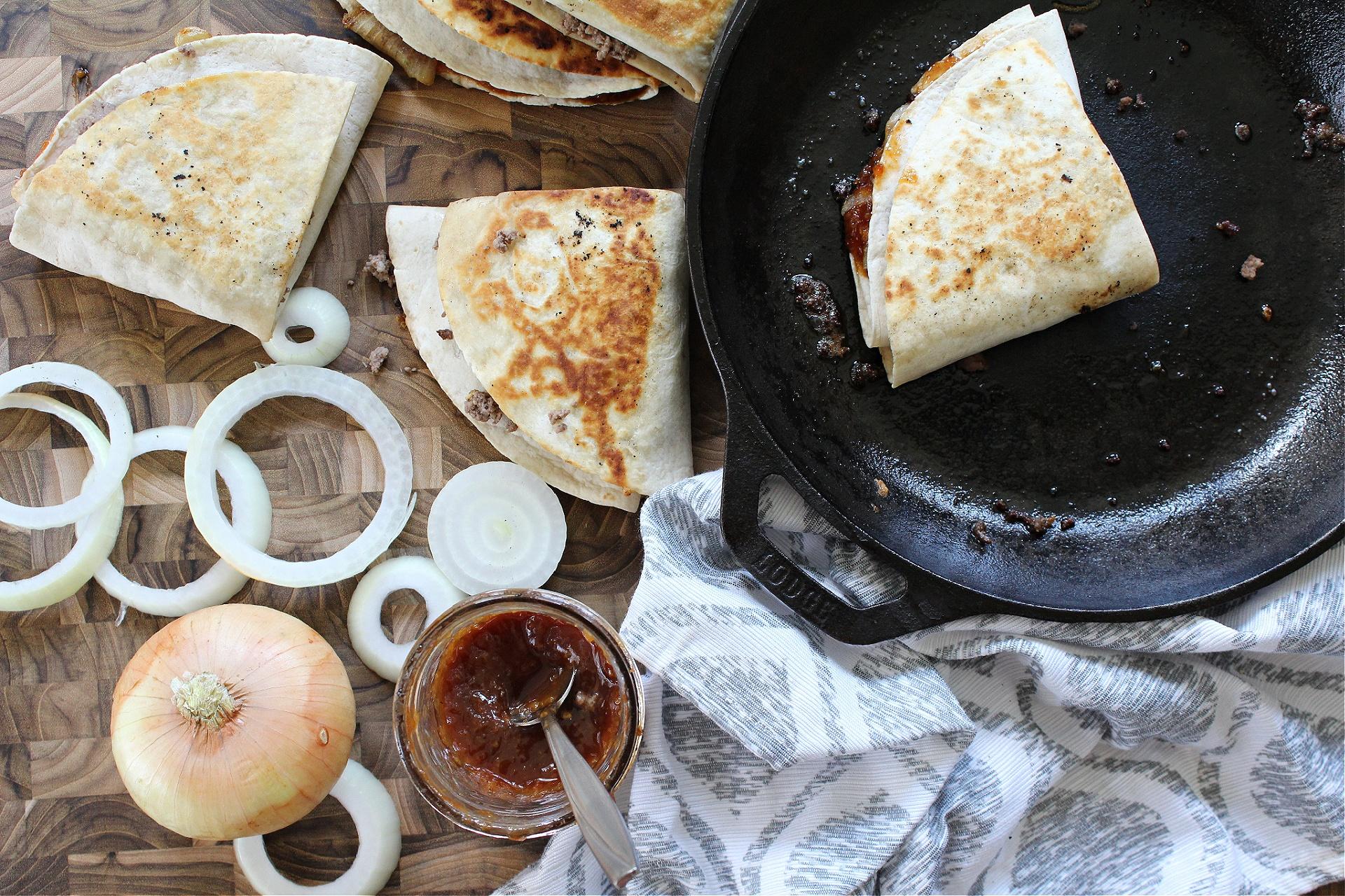 Easy BBQ Cheeseburger Stacked Tortilla Quesadillas