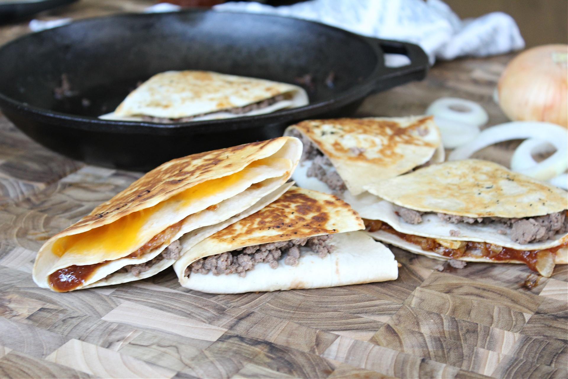 Easy BBQ Cheeseburger Folded Tortilla Quesadillas