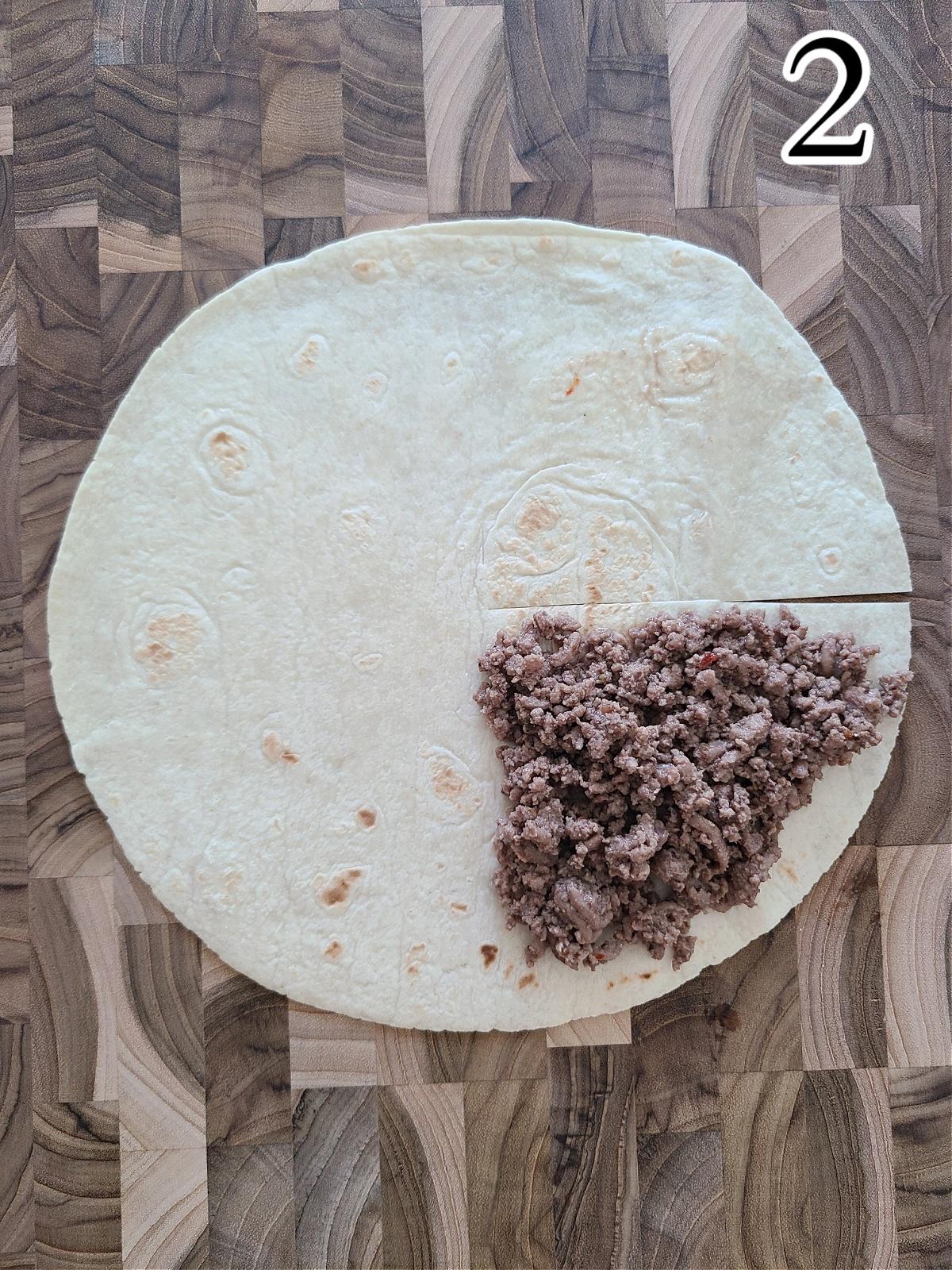 Making BBQ Cheeseburger Stacked Tortilla Quesadillas