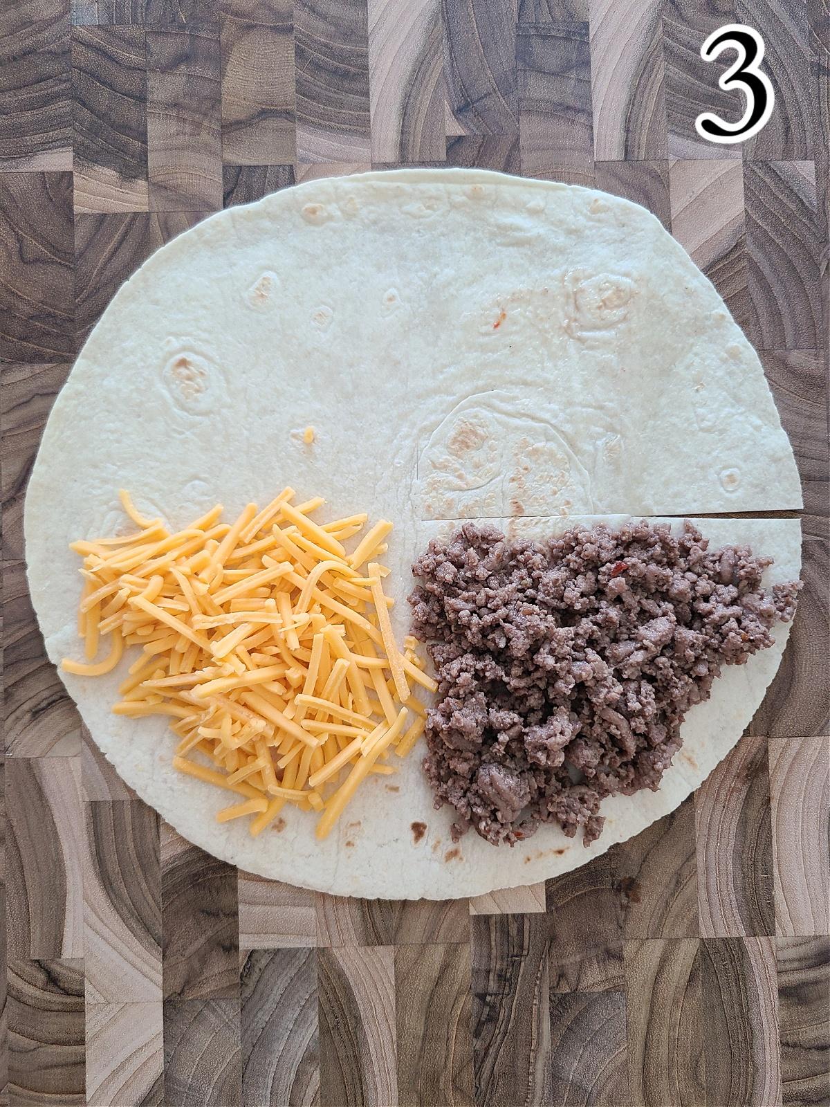 Making BBQ Cheeseburger Stacked Tortilla Wraps