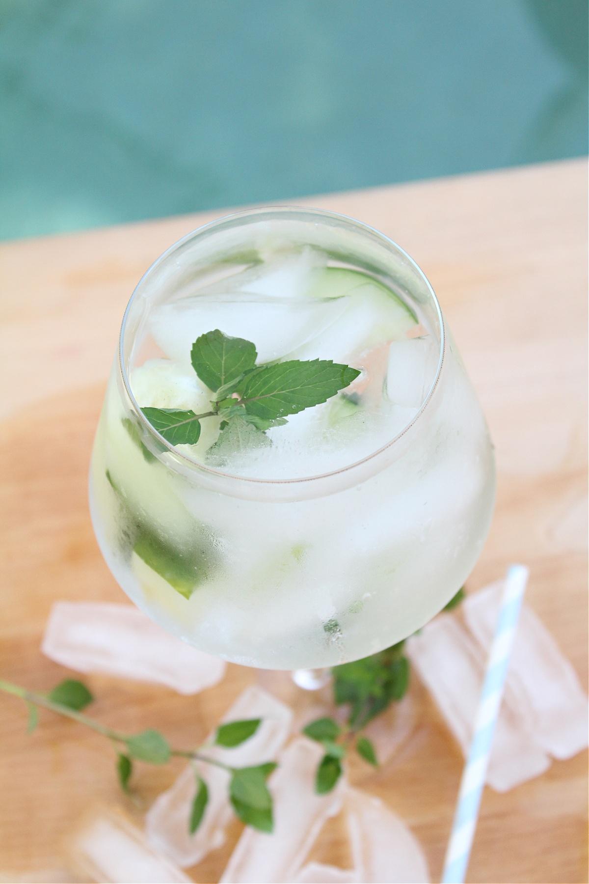 Low Calorie Cucumber Mint Vodka Cocktail
