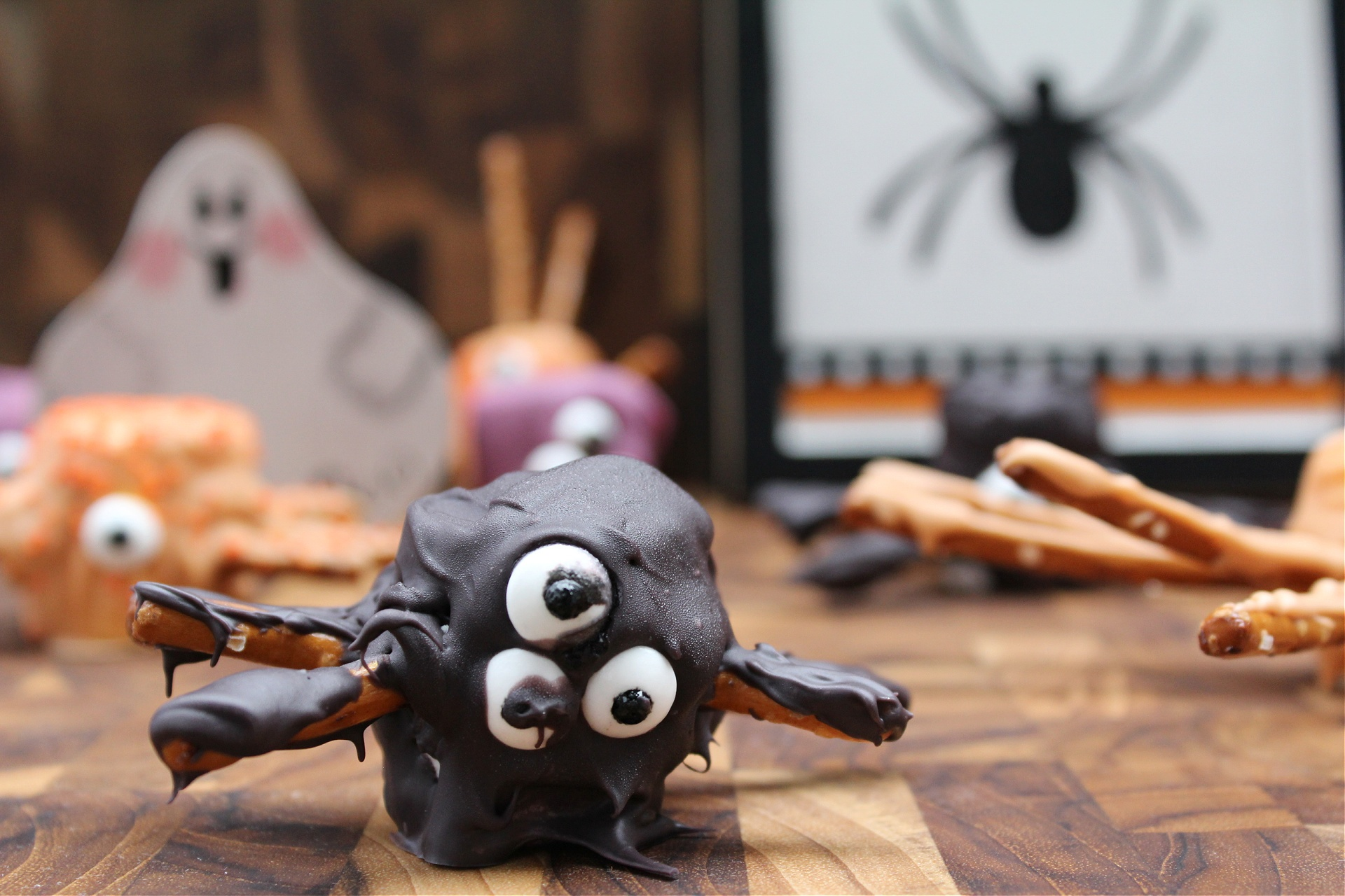 Halloween Spiders made with marshmallows and pretzels
