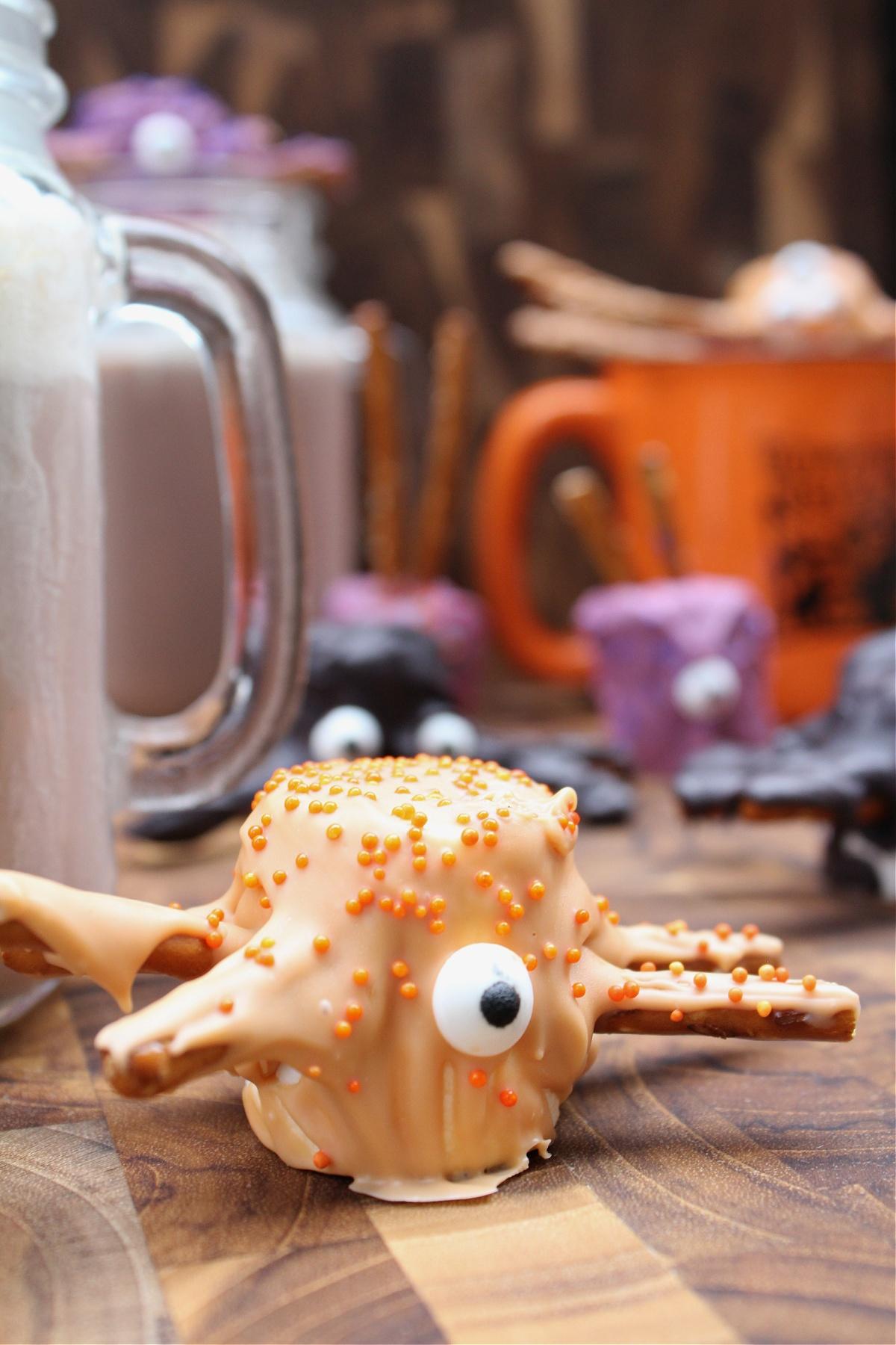 Halloween Marshmallow Spiders with pretzel legs